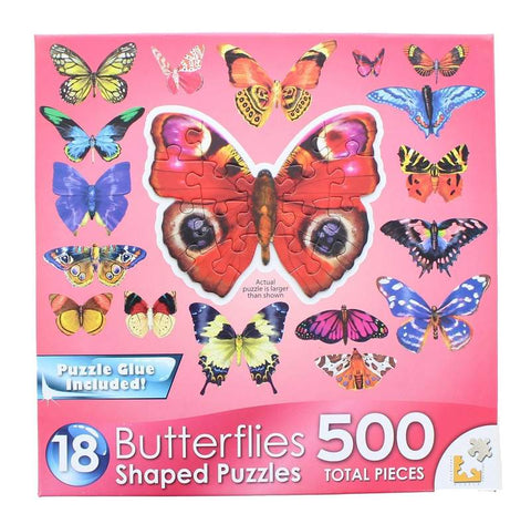 Butterflies III | 18 Mini Shaped Jigsaw Puzzles | 500 Color Coded Pieces