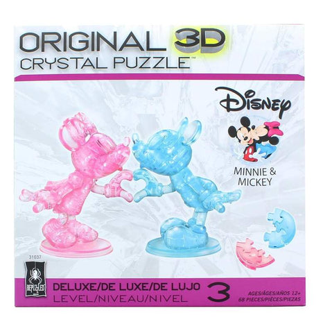 Disney Mickey & Minnie Mouse Heart Hands 68 Piece 3D Crystal Jigsaw Puzzle