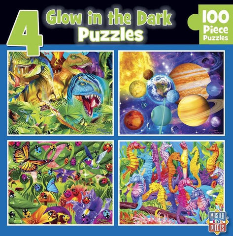 Glow in the Dark 4-Pack Blue 100 Piece Jigsaw Puzzles