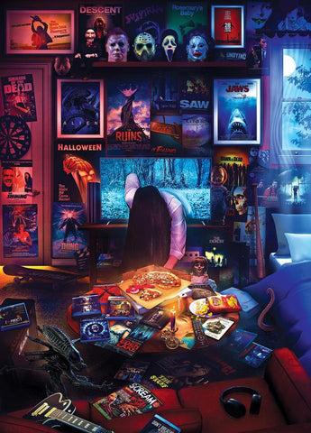 Horror Room and Scary Movies 1000 Piece Jigsaw Puzzle By Rachid Lotf