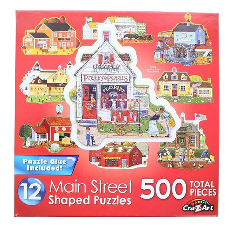 Main Street | 12 Mini Shaped Jigsaw Puzzles | 500 Color Coded Pieces