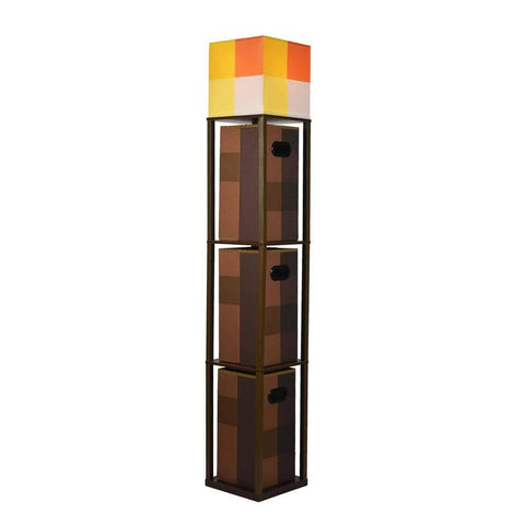Minecraft Brownstone Torch Standing Floor Lamp and Storage Unit | 5 Feet Tall