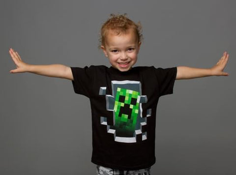 Minecraft Creeper Inside Youth Tee Black