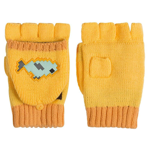 Minecraft Ocelot Fingerless Knit Gloves with Convertible Mitten Covers