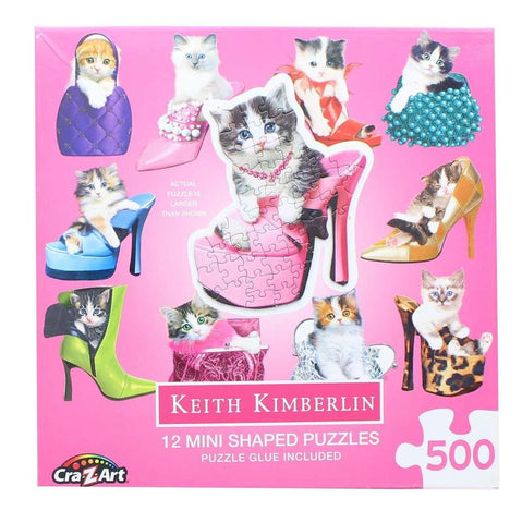 Pretty Kitties | 12 Mini Shaped Jigsaw Puzzles | 500 Color Coded Pieces