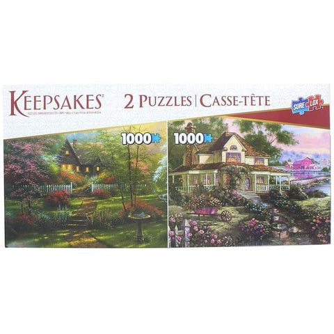 Set of 2 Keepsakes 1000 Piece Jigsaw Puzzles | Colorful Cottages