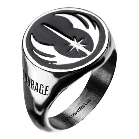 Star Wars Jewelry Men's Stainless Steel Jedi Signet Ring (Silver/Black) - Size 11