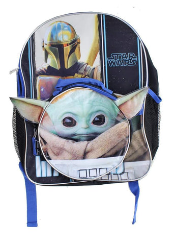 Star Wars The Mandalorian The Child 16 Inch Backpack w/ Lunch Kit