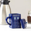 DOCTOR WHO TARDIS CERAMIC COFFEE MUG WITH LID - 17 OZ.