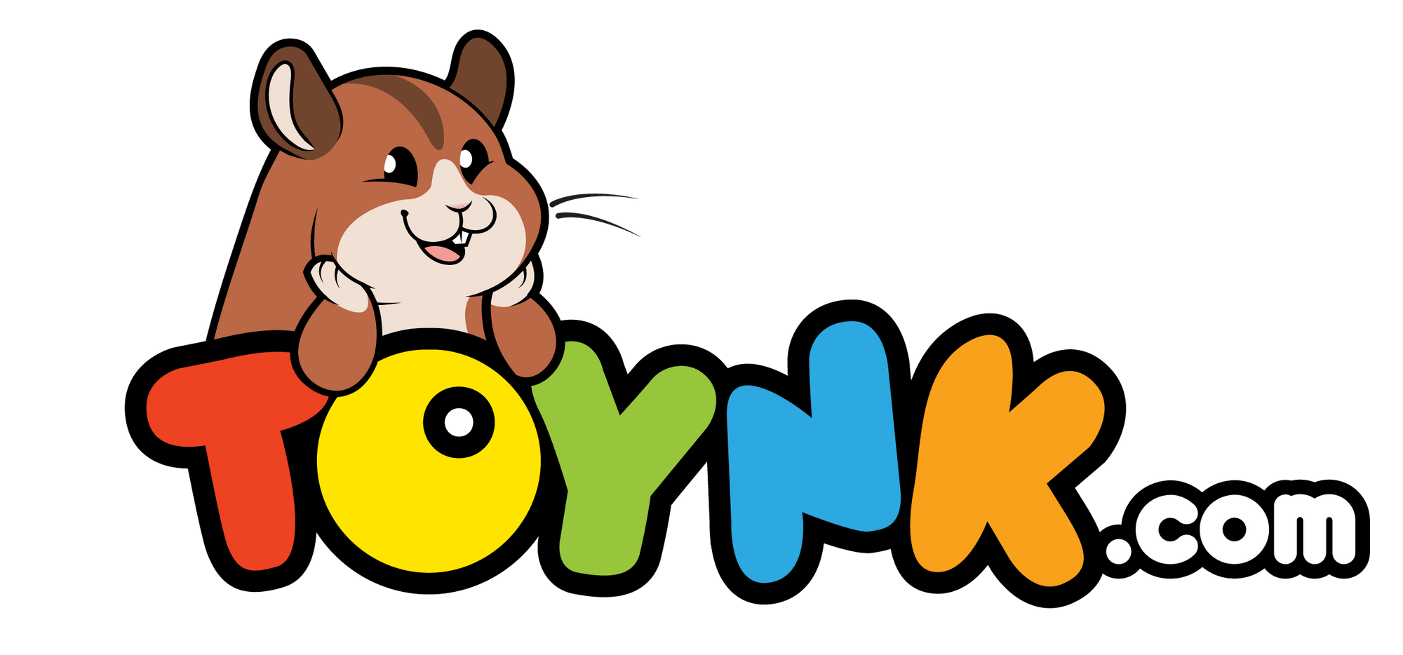 Toynk logo with company mascot, Waffles the Hamster, poking his head out from the top.
