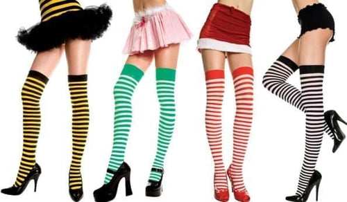 Opaque Stripes Thigh Hi Nylon Costume Hosiery One Size