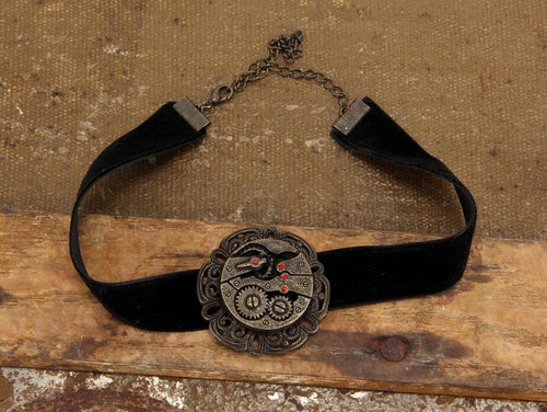 Steampunk Black Velvet Antique Gear Choker Costume Jewelry Adult