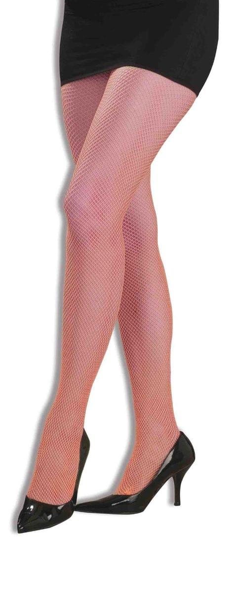 80's Neon Orange Adult Costume Fishnet Tights One Size