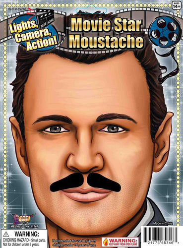 Movie Star Black Costume Moustache
