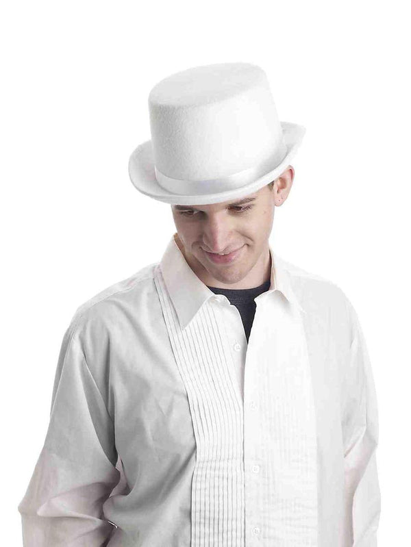 Super Deluxe White Adult Male Costume Top Hat