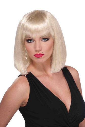 Short Blunt Cut Blonde Adult Female Costume Wig With Bangs