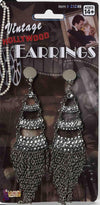 Vintage Hollywood Rhinestone With Dangling Chains Costume Earrings