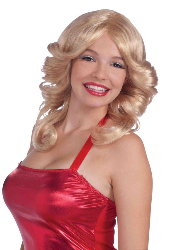 70's Fawcett Flip Adult Costume Blonde Wig