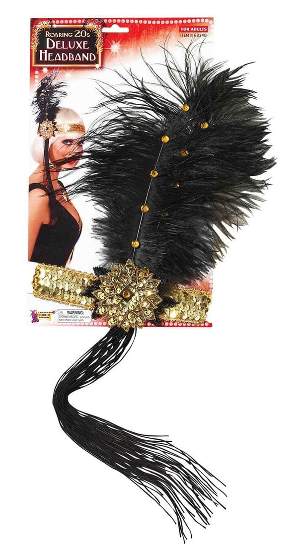 Gold Sequin Adult Costume Flapper Headband With Black Feathers