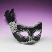 Black And Silver Sequin Costume Fashion Masquerade Mask With Feather
