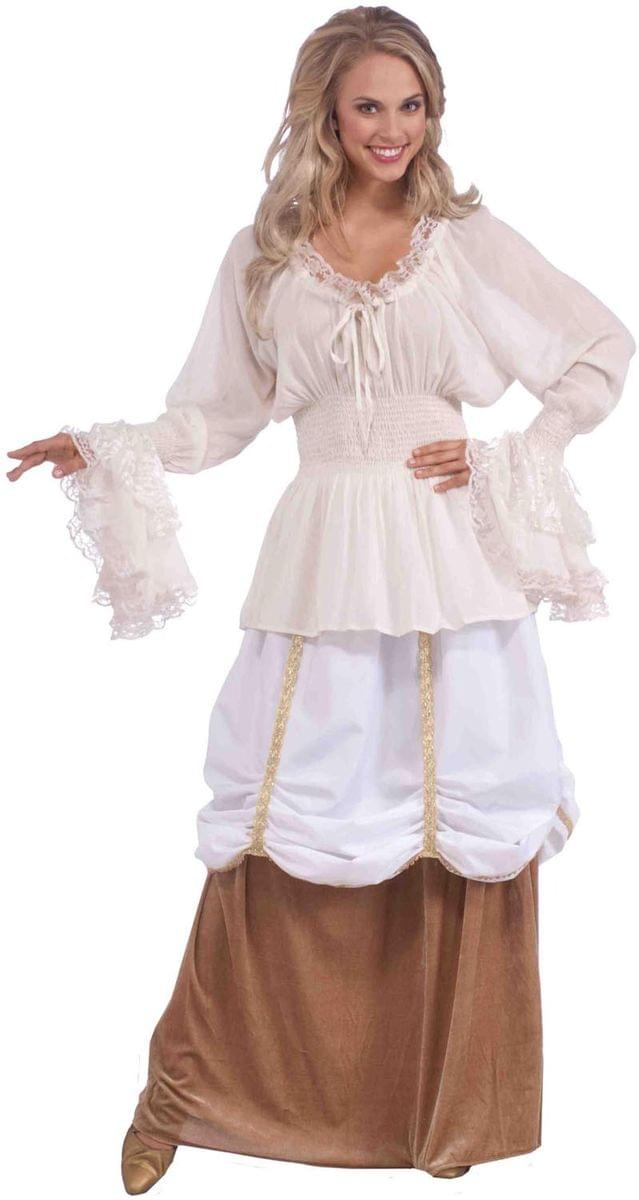 Medieval Lady White Costume Blouse