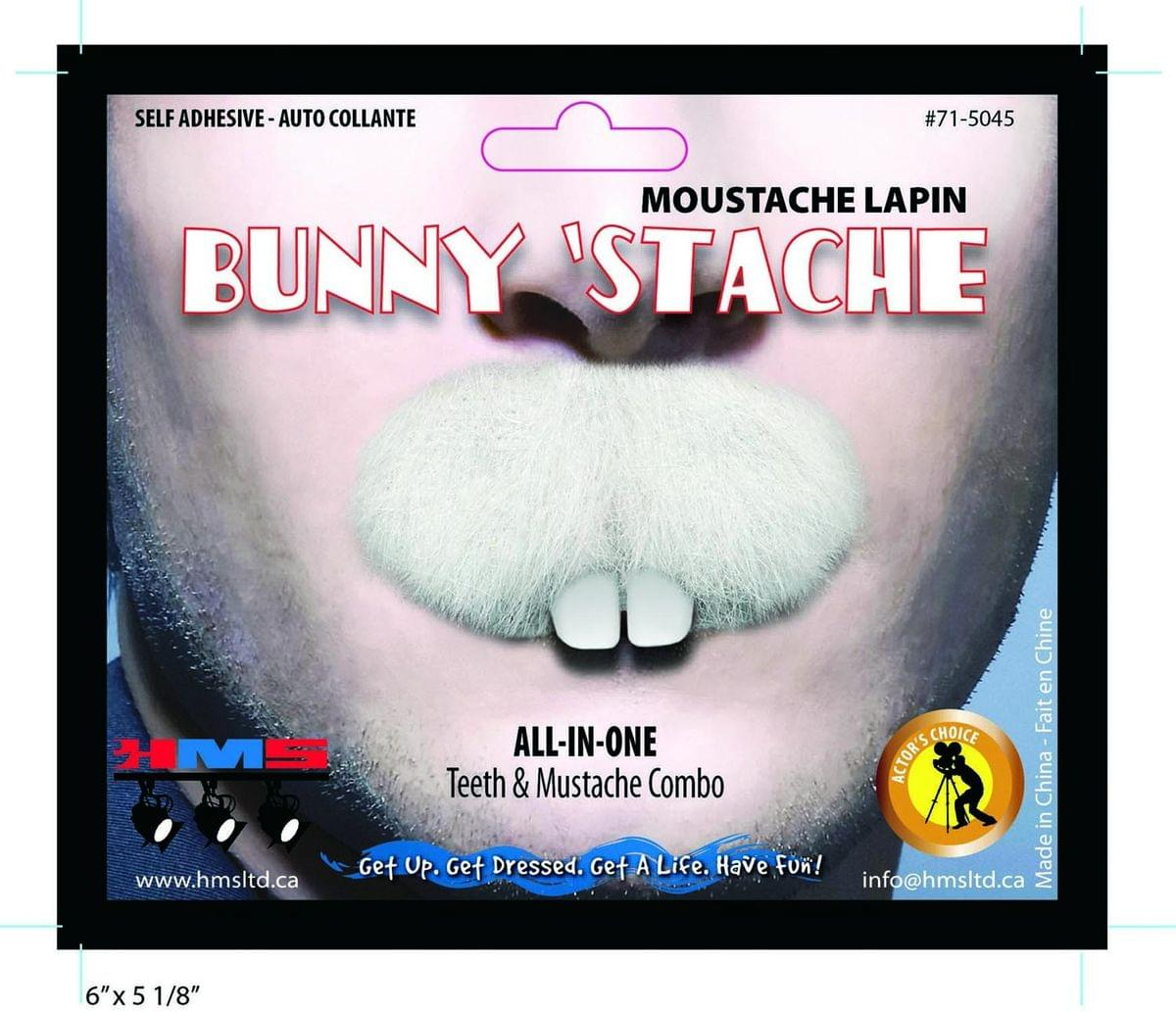 Bunny Stache Moustache With Teeth Costume Accessory One Size