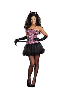 Sexy Kiss Me Kitty Pink Leopard Costume Dress Adult