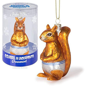 Squirrel In Underpants Glass Holiday Ornament