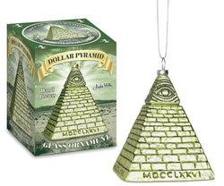 All Seeing Eye Dollar Pyramid Glass Holiday Ornament