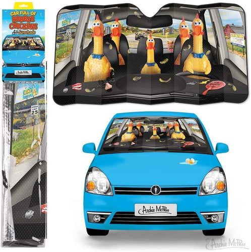 Car Full of Rubber Chickens Auto Sunshade