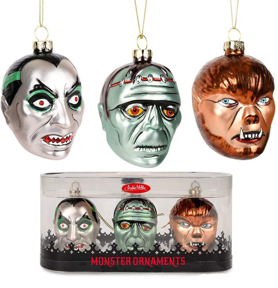 Set of 3 Monster Blown Glass Christmas Ornaments