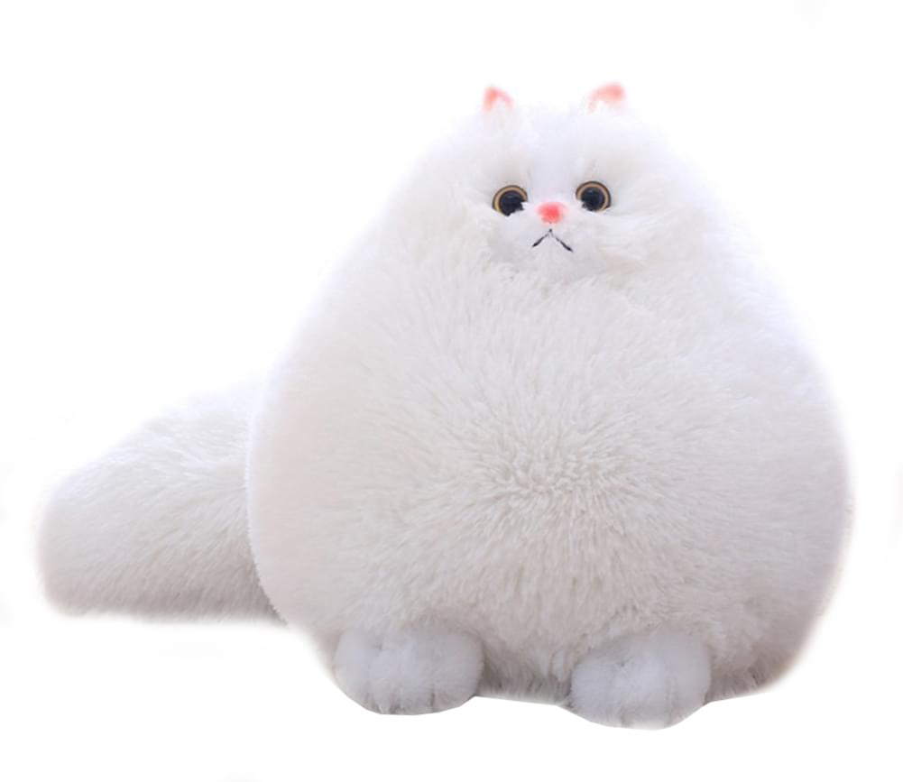 "Winsterch Kids 11.8"" Super Fluffy Cat Plush, White Persian"