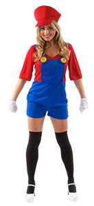 Female Super Plumber/ Mario Adult Costume - Small