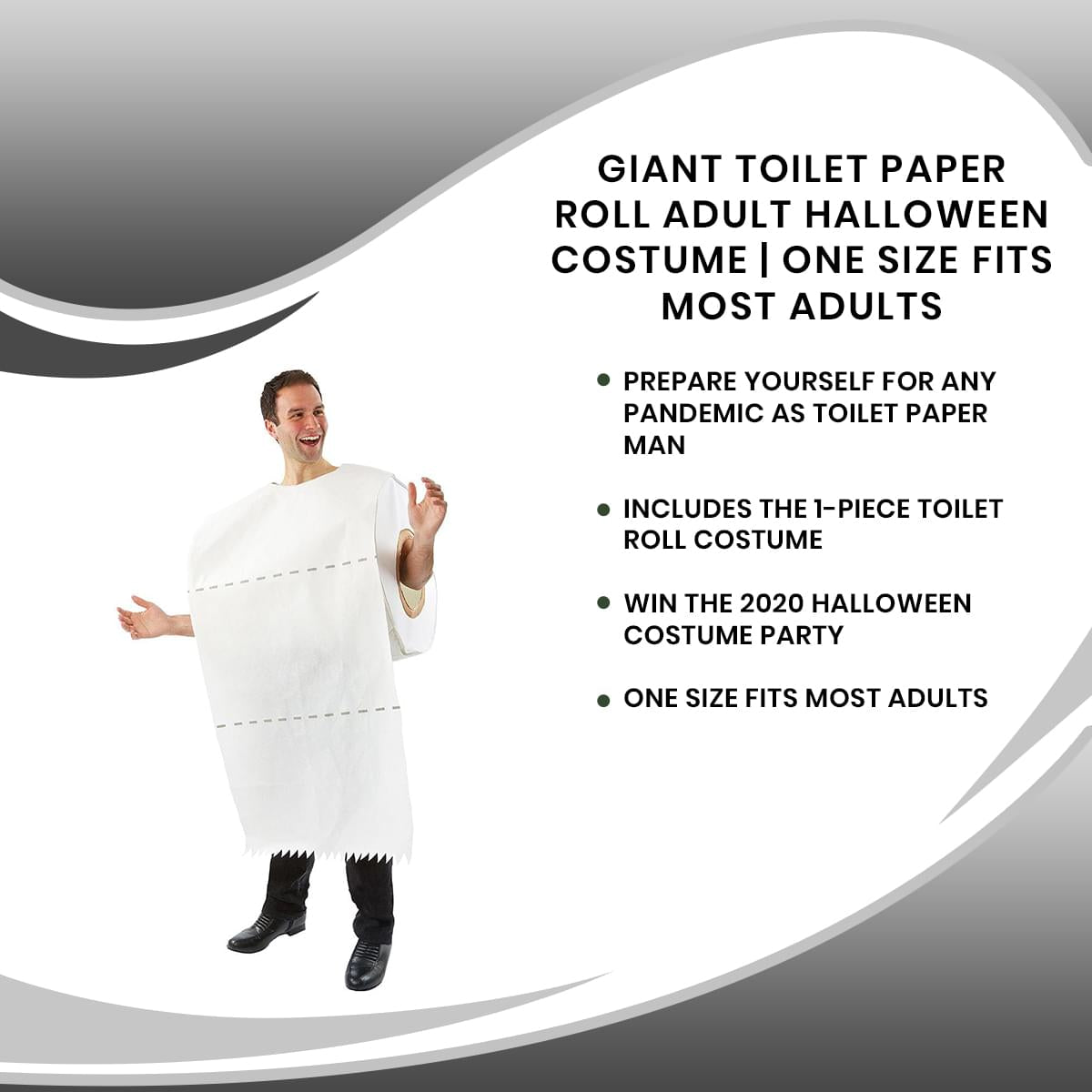 Giant Toilet Paper Roll Adult Halloween Costume | One Size Fits Most Adults