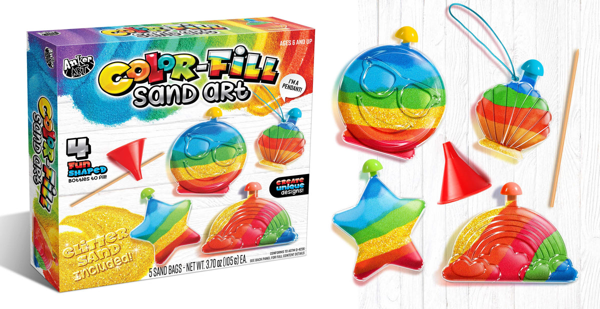 Color Fill Sand Art Kit | 4 Fun Shaped Bottles | 5 Bags of Sand