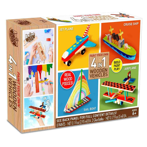 Paint Your Own 4 in 1 Wooden Vehicles Craft Kit | Makes 4 Vehicles