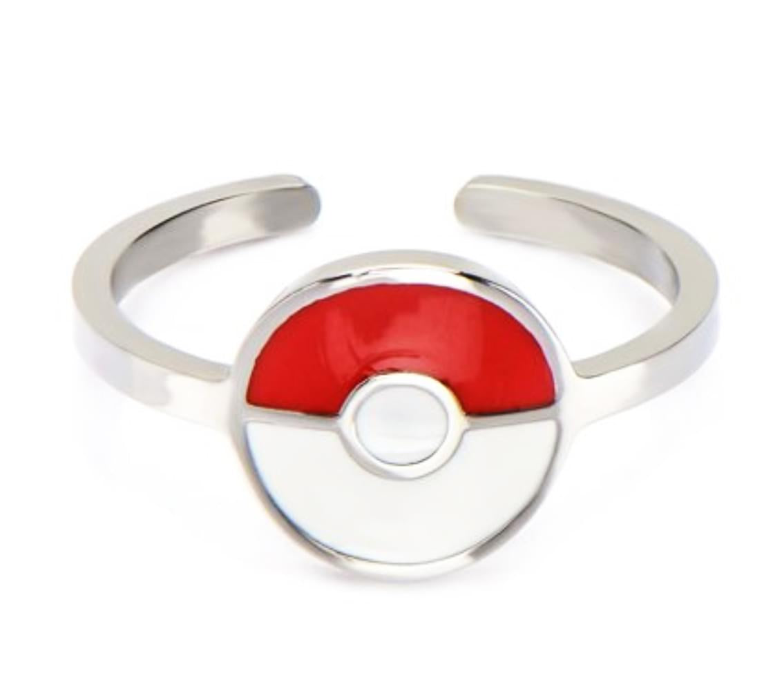 Pokemon Pokeball Red/White Stainless Steel Women's Ring, Size 8