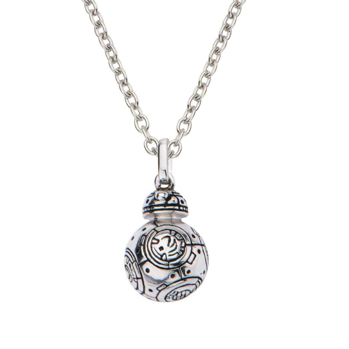 "Star Wars: The Force Awakens BB-8 18"" Sterling Silver 3D Pendant Necklace"