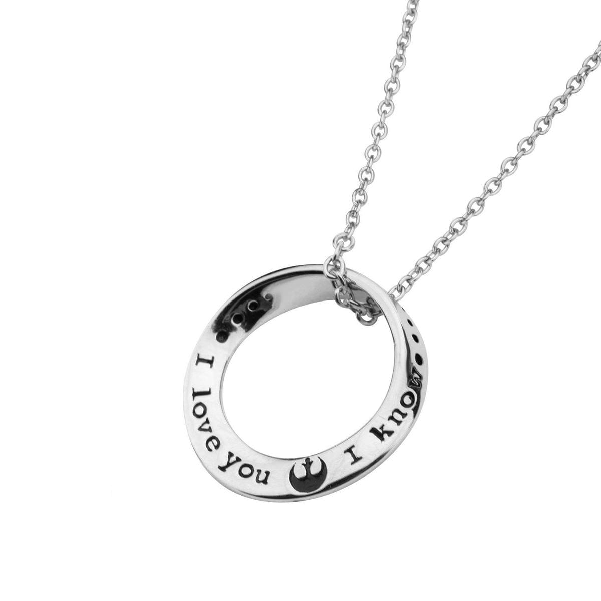 "Star Wars ""I Love You"" / ""I Know"" Sterling Silver Pendant Necklace"