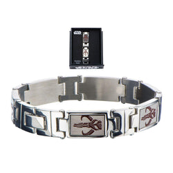"Star Wars Mandalorian Symbol Stainless Steel 8.25"" Men's Link Bracelet"