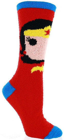 Wonder Woman Fuzzy Juniors Red Socks
