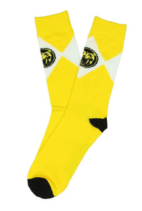 Mighty Morphin Power Rangers Men's Crew Socks Yellow