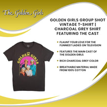 Load image into Gallery viewer, Golden Girls Group Shot Vintage T-Shirt | Charcoal Grey Shirt Featuring The Cast