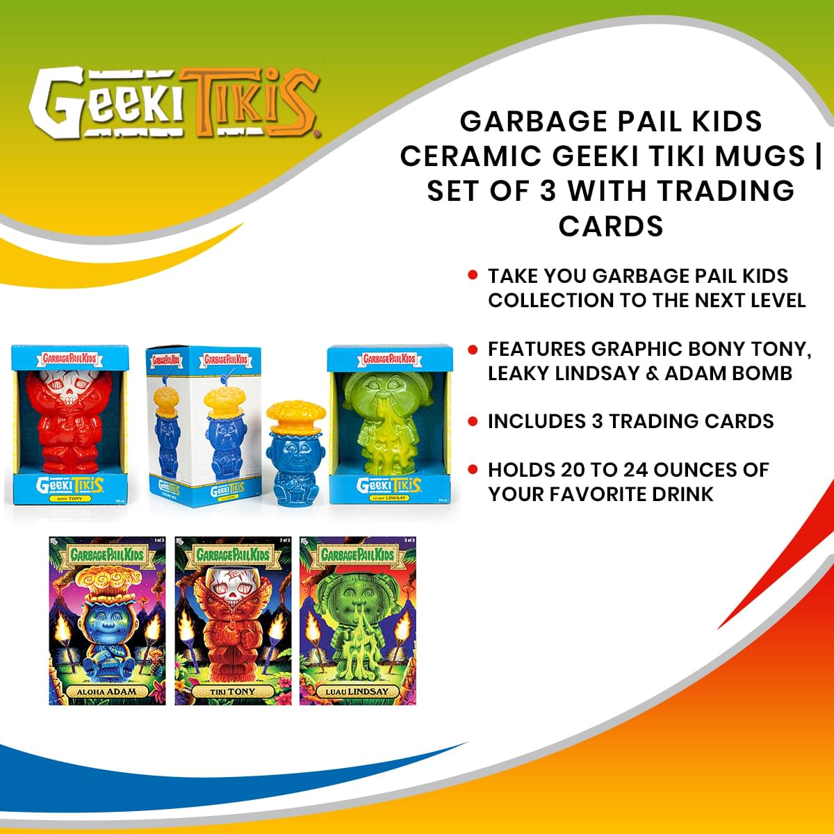 Geeki Tikis Garbage Pail Kids GPK Ceramic  Mugs | Set of 3 | Includes 3 Collectible Trading Cards