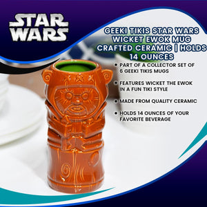 Geeki Tikis Star Wars Wicket Ewok Mug | Crafted Ceramic | Holds 14 Ounces
