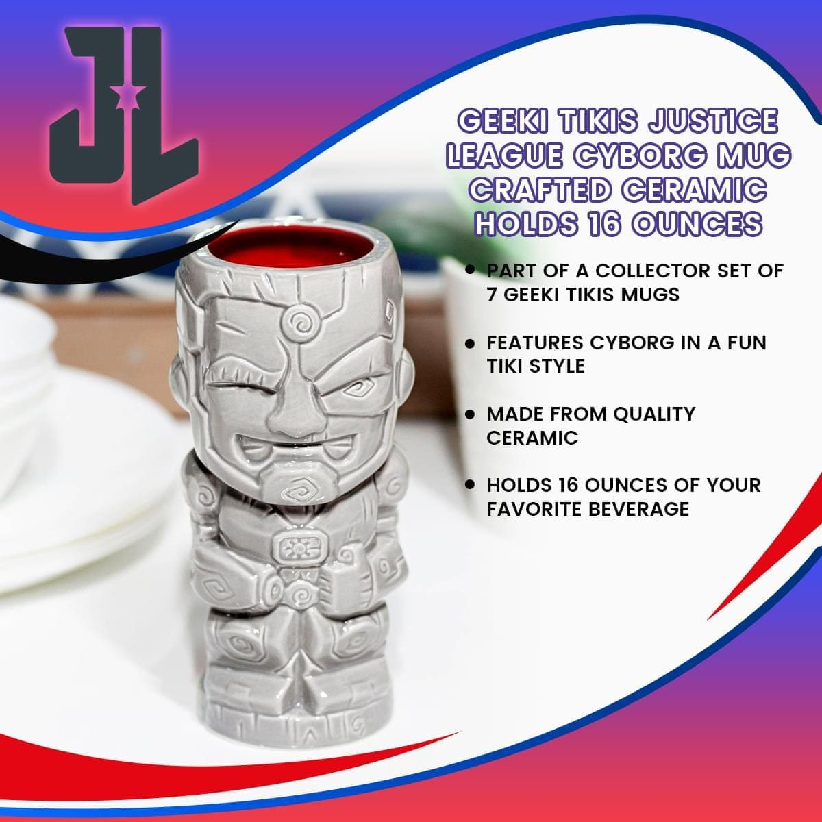 DC Collection Cyborg 16oz Geeki Tikis Ceramic Mug