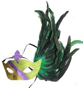 Glitter Eye Venetian Costume Mask w/ Feathers - Style H Green Gold & Purple