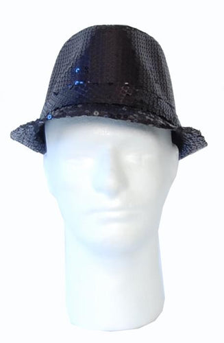 Dancer Sequin Costume Hat: Black