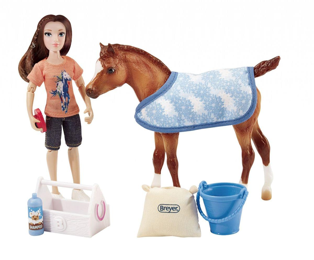 "Breyer Classics Bath Time Fun 6"" Doll and Pony Activity Set"