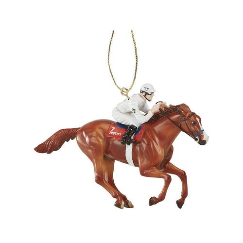 Breyer Model Horse Holiday Ornament - Justify w/ White Jockey